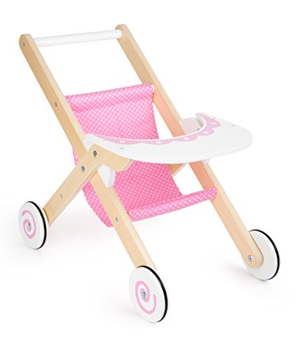 Small Foot 10741 Buggy Made of Sturdy Wood, Rubberized Tyres for Easy and noiseless Running with Spiral Effects, with White Wooden Board as a Tray, Ideal Doll Accessory