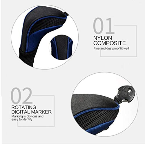 Black Golf Head Covers Driver 1 3 5 Fairway Woods Headcovers Long Neck 1680D Knit Head Covers for Golf Club Fits All Fairway and Driver Clubs 3pcs