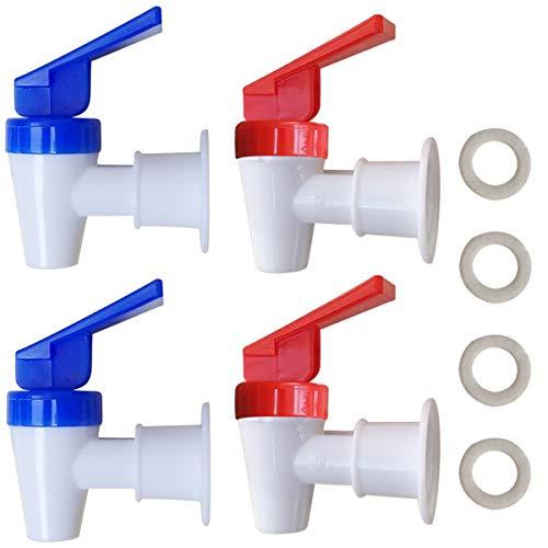 Replacement Cooler Faucet - 2 Blue and 2 Red Water Dispenser Tap Set - Internal Thread Plastic Spigot.