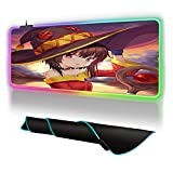 Mouse Pads Kawaii Anime Magic Wand Girl Megumin RGB Gaming Mouse Pad with 14 RGB Light up Modes,LED Gaming Pad,Non-Slip Rubber Based Computer Mice mat Medium Size 300X600mm_Color_B