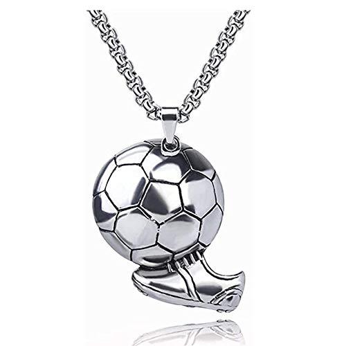 LKYH Zapatos de fútbol de Hip Hop para Hombre, Collar con Colgante de fútbol, Collar con Colgante de Acero Inoxidable para Hombre, Regalo de joyería