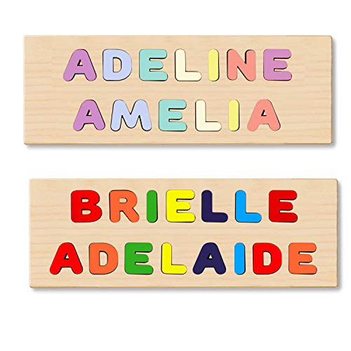 KIDZCO Wooden Personalized Name Puzzle (2 Name Puzzle) First & Last Name Or 2 Names