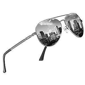 DUCO メンズ サングラス UV400 偏光サングラス ブラック アビエーター ティアドロップ サングラス 高品質ガラス 釣り 運転用 3025K