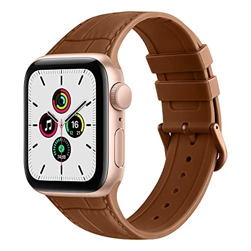 ZHIX Correa Compatible con Apple Watch 44mm 42mm 38mm 40mm,Cuero Diseño de Textura Silicona Pulseras de Repuesto de Correa para iWatch Series SE 6 5 4 3 2 1,Mujer y Hombre(38mm/40mm,Marrón)