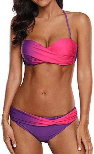 EUDOLAH Damen Bandeau Padded Bikini-Set Trägerlosen Badeanzug Push Up (Medium Z-Rosarot)