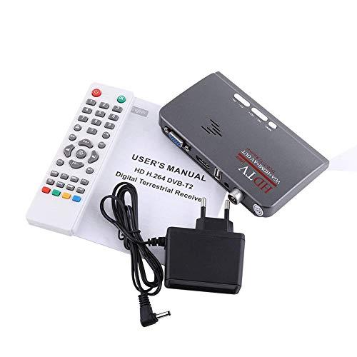 Sxhlseller Receptor de Sintonizador de TV, Digital 1080P HD HDMI -T2 TV Box Tuner Receptor Convertidor Control Remoto con Puerto VGA para Monitor LCD/CRT