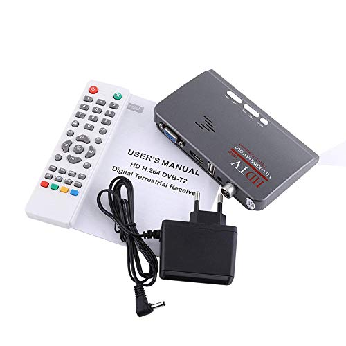 Decodificador de TV Digital Full HD 1080P terrestre, USB 2.0 Freeview Grabador de sintonizador de TV 1080P HD HDMI H.264 DVB-T2 Puerto VGA TV Box con Control Remoto