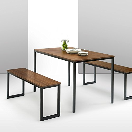 Zinus Dining Table with Two Benches, Wood, Brown