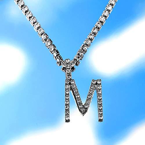 CXWK AZ Personalizado Cadena de Tenis de Diamantes de imitación Collar de Letras para Mujeres Hombres joyería Alfabeto Colgante Collar Gargantilla Cadena