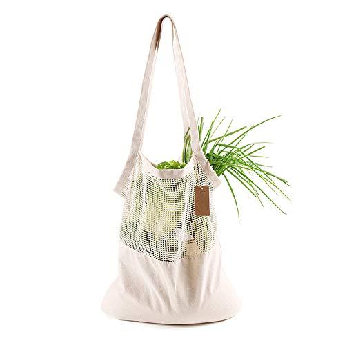 Roiz Bolsa de Compras de algodón Reutilizable para el Mercado Organizador de Frutas y Verduras Almacenamiento de comestibles en el hogar Uso Diario, 1 Pieza
