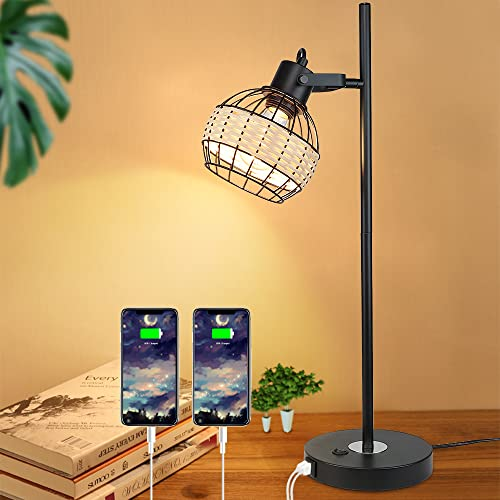 Depuley Industrial LED Nightstand Table Lamp, Modern Desk Lamp with 2 USB Charging Ports, Metal Bedside Lamps with Rattan Lampshade, Reading Light for Bedroom Living Room Student(E27 Bulb Incl.)