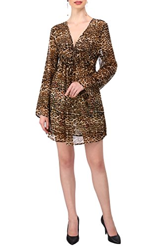 Miss Lavish Mujer Atado a la Cintura Kaftán Kimono Talla Grande Protector Playa Leopardo Vestido Túnica