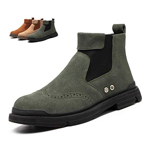Zapatos de seguridad Botas de seguridad para mujeres y hombres, tapa de acero Pull-on Pull-on al aire libre Casual Work Shoes, Suede Cuero Tobillo Cocina Entrenador Industrial y Construcción Calzado b