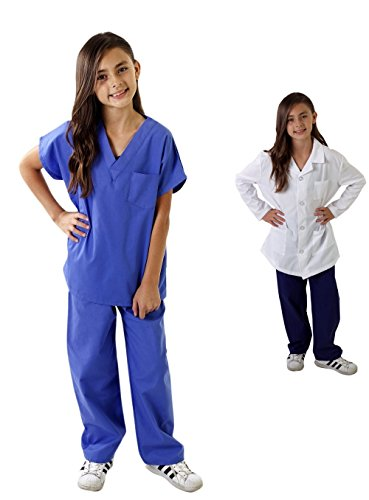 M&M SCRUBS Super Soft Children Scrub Set and Lab Coat Combo Kids Doctor Dress up (4, Ceil Blue Set and White Lab Coat)