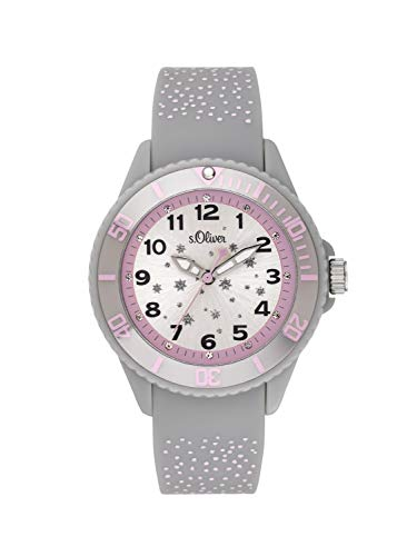 s.Oliver Mädchen Analog Quarz Uhr mit Silikon Armband SO-3923-PQ