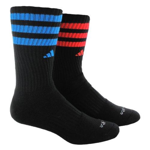 adidas Herren Team Crew Socken (2 Paar), Schwarz/Solar Blue, Einheitsgröße