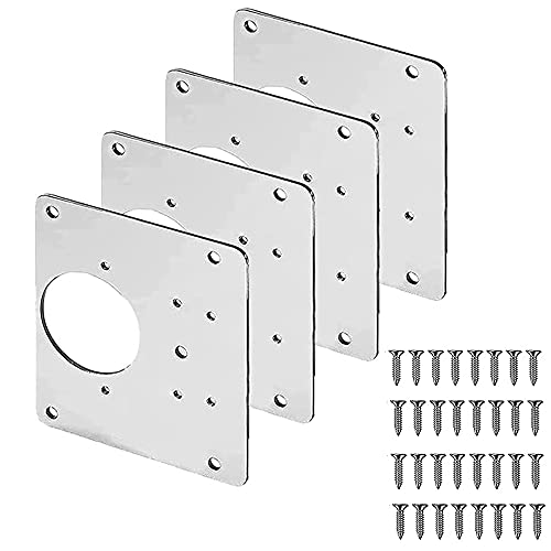 KAMIIN Placa de reparación de bisagra, soportes de reparación de bisagras con agujero y tornillos de fijación, acero inoxidable soporte plano para puerta de armario muebles de madera, 8 x 9 cm
