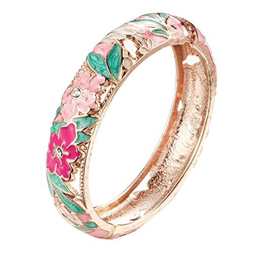 UJOY Cloisonne Bangle Colorful Enamel Flower Golden Filigree Hollowed Crystal Bracelet for Women Gifts 88A12 Pink