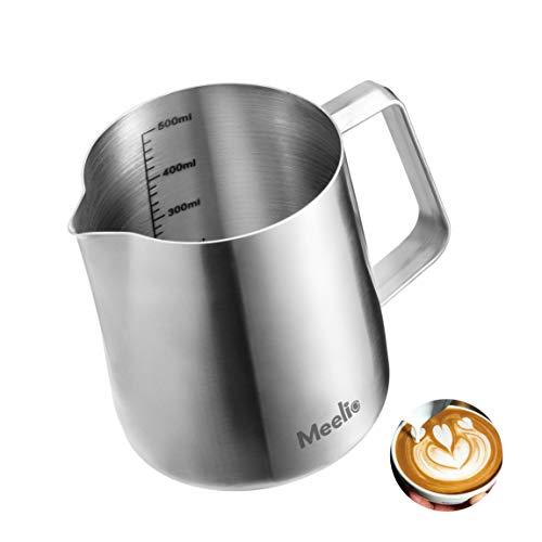 MeelioCafe Milchkännchen, 500 ml Handheld Edelstahl Aufschäumkännchen, Kaffee Creamer Milch Aufschäumer Kännchen Tasse mit Messung Mark, Milch Aufschäumen für Cappuccino und Latté, Mattiertes Silber