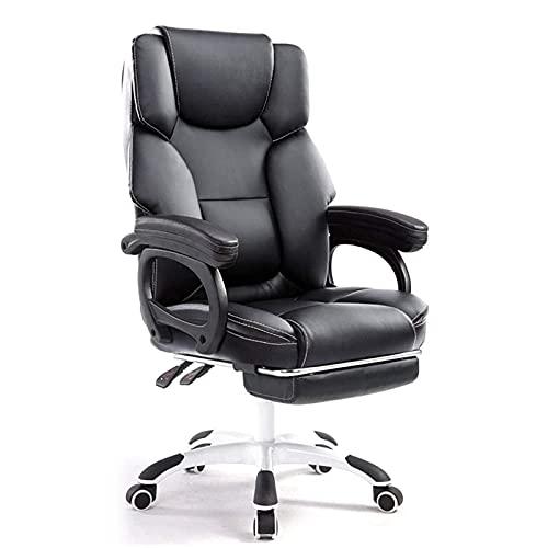 BKWJ Silla de Oficina de sillas ejecutivas, Silla ergonómica de Cuero ergonómico, reposacabezas Doble Espeso con reposapiés retractible