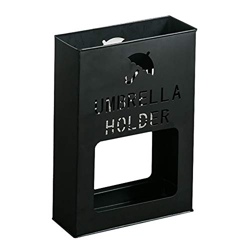 Paragüero Paragüero de Metal Rectangular con 4 Almohadillas Antideslizantes, Estante para Sombrilla de Gran Capacidad para Bastones/Bastones/Escobas (Color : Black)