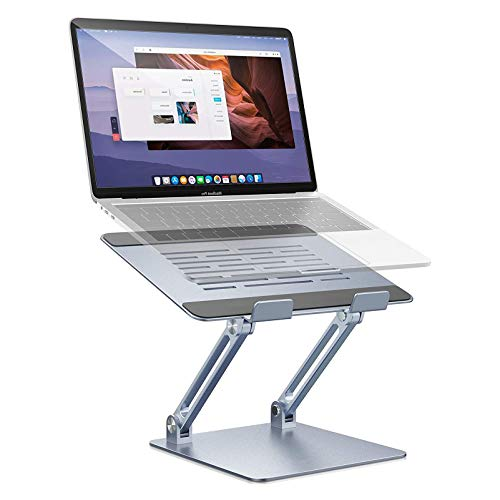 "HYE Adjustable Laptop Stand, Ergonomic Standing Desk with Heat-Vent, Laptop Riser with Anti-Slip Silicone, Compatible with 10-17"" Laptops"