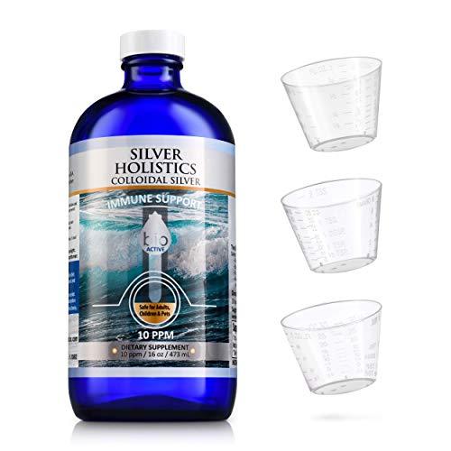 Colloidal Silver Liquid 10 ppm - Colloidal Silver Solution w/Measuring Cups by Silver Holistics