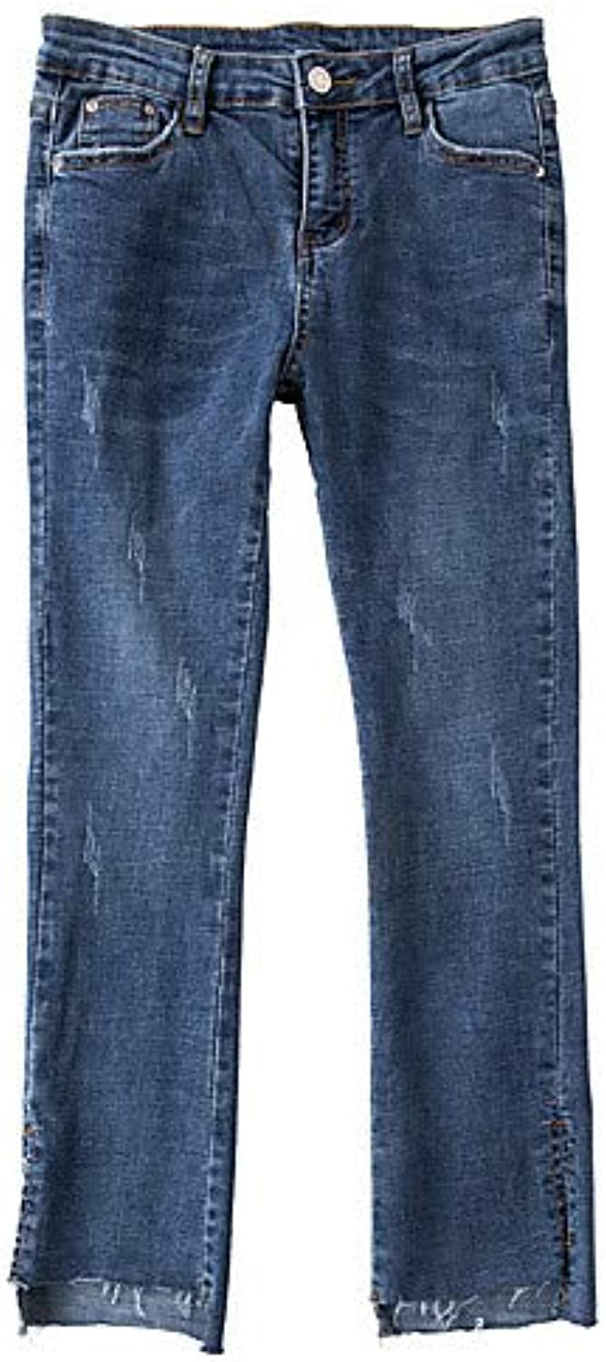 Women's Basic Cotton Slim Jeans Pants  Solid colord