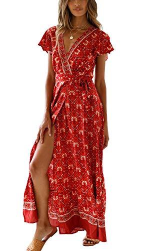 Ajpguot Vestido de Verano Mujer Impresión Maxi Vestidos de Playa Elegante Beachwear Largo Dress con Cinturón Sexy V-Cuello Manga Corta Hendidura Vestido de Partido