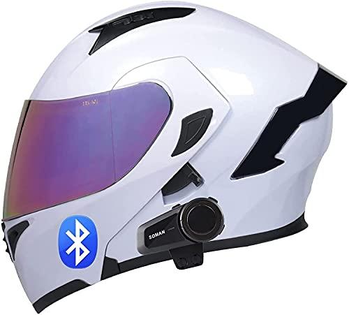 Motocicleta Integrada Casco Bluetooth Radio Intercom Equipo de intercomunicación Motocicleta Casco plegable con anti-niebla Doble Disco incorporado MP3 FM Radio Intercomunicador Intercomado Sistema A,