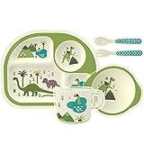H HOMEWINS 5-Teilig Kindergeschirr aus Bambus - Teller, Schüssel, Löffel, Gabel, Tasse, BPA Frei Kinderbesteck Umweltfreundlich Geschirr Set für Babys Toddler (Grün Dinosaurier)