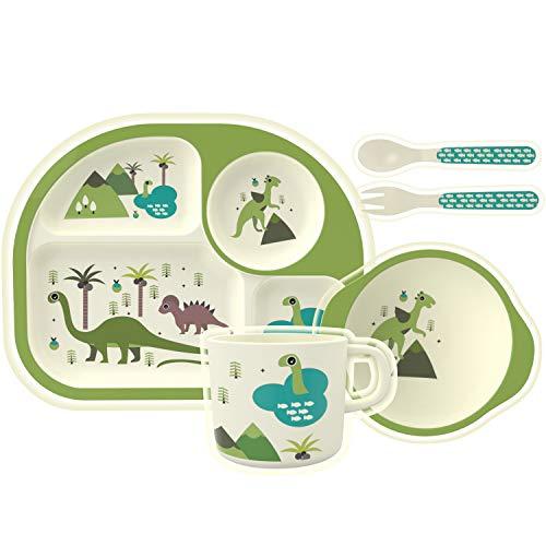 HOMEWINS Juego de vajilla para niños Juego de Cena Bamboo Baby de 5 Piezas: Plato, tazón, Taza, Cuchara, Tenedor, Juegos de vajilla para niños sin BPA (Dinosaurio)