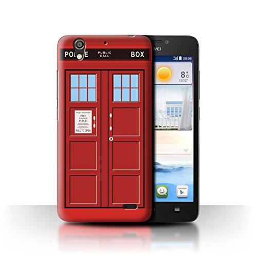 Hülle Für Huawei Ascend G630 Tardis Handyzelle Kunst Rot Design Transparent Ultra Dünn Klar Hart Schutz Handyhülle Hülle