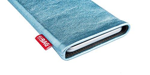 fitBAG Groove Türkis Handytasche Tasche aus feinem Folienleder Echtleder mit Microfaserinnenfutter für Huawei Ascend Mate 2   Hülle mit Reinigungsfunktion   Made in Germany - 3