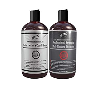 Hair Restoration Laboratories Hair Restore Professional Strength Shampoo and Conditioner Set, DHT Blocker to Prevent Hair Loss, Effectively Thickens Thinning Hair for Men and Women, 2 x 16 oz