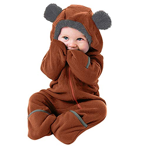 MRULIC Säugling Baby Playsuit Mädchen Jungen Overall Walkanzug Herbst und Winter Langarm Flauschig mit Kapuze Pullover Jumpsuit Outfits Outwear Babysachen(A1-Braun,85-90CM)