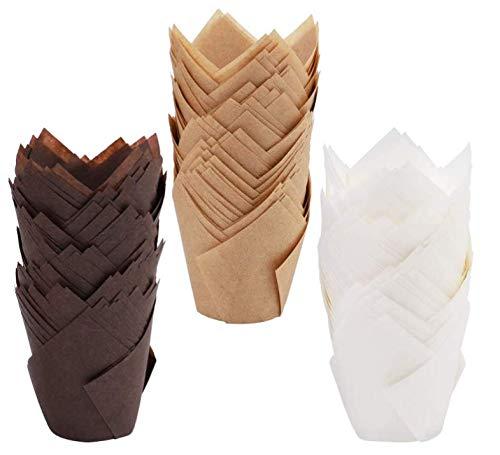 Xinzistar 150 Stücke Muffinförmchen Papier Tulpenform Backförmchen Cupcake Formen Muffinform Zwischenlagen Wrapper Backformen für Cupcakes Muffins (Braun, Natürlich, Weiß)