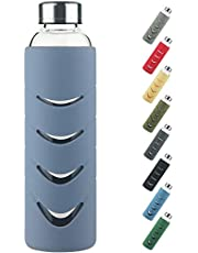 Glazen Drinkfles - 500 ml / 1 l BPA-vrije Borosilicaatglas Waterfles met Lekvrij Deksel en Beschermende Siliconen Hoes, Geschikt voor Kooldioxide, Perfect voor op Kantoor, Fitness, Reizen