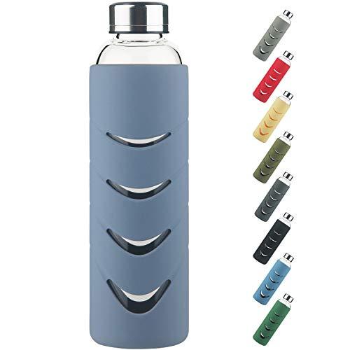 Gourde en Verre - Bouteille d'eau en Verre Borosilicate sans BPA de 500 ml / 1l avec Bouchon étanche et Housse de Protection en Silicone, Parfaite pour le Bureau, le Fitness, les Voyages