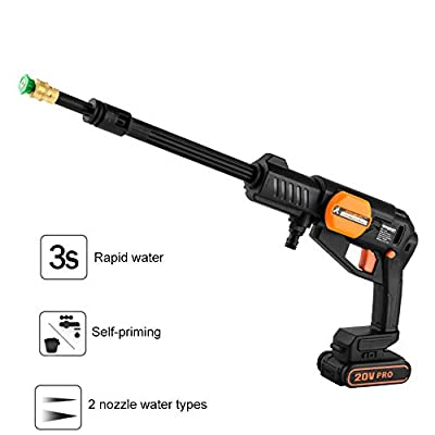 QXMEI Wireless Pressure Washer 2-in-1 Nozzle High And Low Gear Adjustment Pressure Cleaning Machine For Home Garden, Car Washing Machine,Black by Qxmei