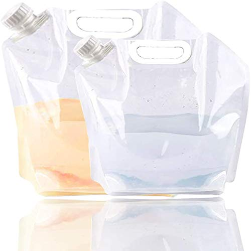 TLBL Contenitore Pieghevole dell'Acqua, Congelabile, Serbatoio per Acqua in Plastica Senza BPA, Borsa per Acqua Pieghevole per Esterni per Campeggio Sportivo, Alpinista con Zaino. (5L)