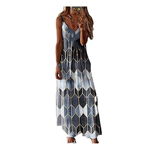 N\P Falda de tirantes suelta, casual de verano para mujer, gris, 36