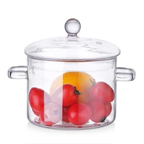 ZDZDZ Glastopf mit Deckel – hitzebeständiges dickes Glas-Kochgeschirr-Set, klarer Kochtopf – sicher für Nudeln, Suppe, Milch (1600 ml)