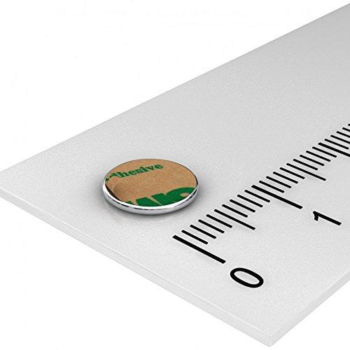 10 x Neodym Scheiben Magnet, 8 x 0.75 mm, vernickelt, selbstklebend durch Klebefolie, Grade N35, Basteln, Hobby