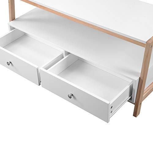 belupai Mesa de centro de madera con cajones, mesa de sala de estar de estilo simple, unidad de TV de marco de madera