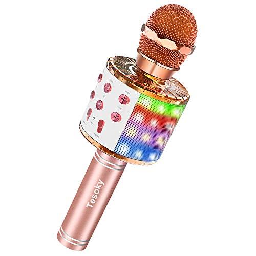 Tesoky Karaoke Mikrofon mit Lichteffekte,Upgraded 4-in-1 Drahtloses Bluetooth Mikrofon für Kinder - Beste Gechenke,Tragbares Bluetooth Mikrofon mit Dual Sprecher für Hause KTV/Party