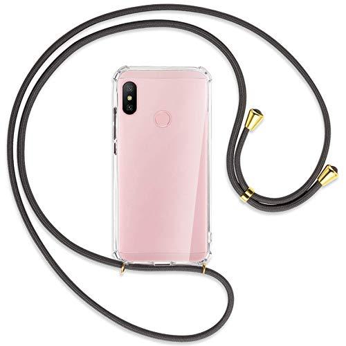 mtb more energy® Collar Smartphone para Xiaomi Redmi Note 6 Pro (6.26'') - Gris Oscuro/Oro - Funda Protectora ponible - Carcasa Anti Shock con Cuerda