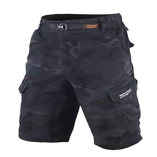 Muscle Alive Hombres Cargo Shorts Vintage Deportes Cámping Excursionismo Camuflaje Pantalones Cortos Algodón 8137 Negro Camo L