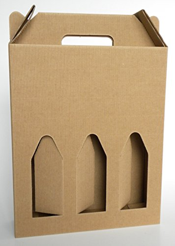 Natale Scatola Box per 3 Bottiglie Avana Marrone Vino Birra Olio 750 ML Manico Cartone