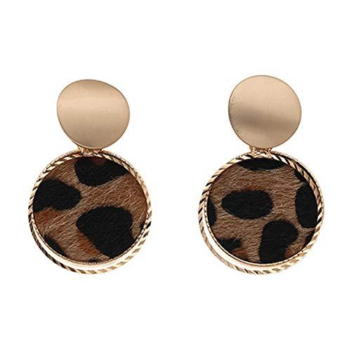 Ruby569y Pendientes colgantes para mujer y niña, 1 par de pendientes geométricos de aro con diseño de leopardo de aleación para uso diario – 1